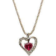 Vintage Sterling Silver/925 Synth Red Ruby Heart with 0.05cttw Diamond Accents Heart Pendant with Silver Rope Chain Necklace