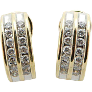 Vintage 14K Yellow Gold 0.50cttw G-SI Round Diamond Huggie Omega Earrings