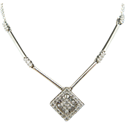 """Solid 14K White Gold 0.50cttw G-SI Round and Baguette Diamond Necklace-18"""""""