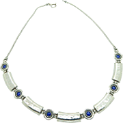 Vintage Sterling Silver/925 DIDAE Classic Rectangular and Round Blue Lapis Lazuli Necklace