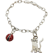 Sterling Silver/925 MWS Mexico Cat and Ladybug Charms Link Chain Bracelet