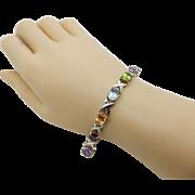 Silver/925 10.50ctw Multi-Color Topaz, Garnet, Amethyst Gemstone XO Bracelet-SA