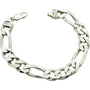 "Solid Sterling Silver/925 FIGARO Link 11mm Bracelet, 7.75"", Italy (35 g)"