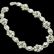 """Vintage Solid Sterling Silver/925 Flower Choker Necklace-15.5"""" (26gr)"""