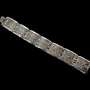 """Vintage Silver 800 Filigree Flower Square Link Bracelet-7""""; Italy; 15GE"""