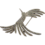Vintage Sterling Silver/925 Marcasite Hummingbird Pin/Brooch