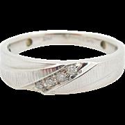 Mens Solid 10K White Gold 0.10cttw G-SI Round Diamond Wedding Ring Sz 10.25