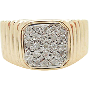 Vintage 14K Yellow Gold 0.25cttw H-SI Round Diamond Mens Ring Sz 8