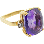 Vintage 18K Yellow Gold 6.00cttw Amethyst w/ Diamond Accents Cocktail Ring Sz 5