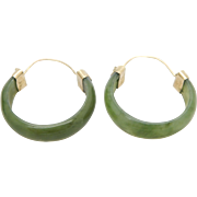 Vintage 14K Yellow Gold 6.5mm Natural Green Jade Hoop Earrings