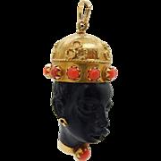 Vintage Corletto 18K Yellow Gold Red Coral Blackamoor Head Pendant-Italy