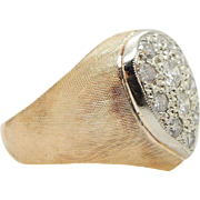 Vintage 14K Yellow Gold 0.55cttw G-VS2 Round Brilliant Diamond Mens Pinky Ring