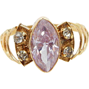 Vintage 14K Yellow Gold 1.00ctw Marquise Cut Amethyst w/CZ Accents Filigree Ring