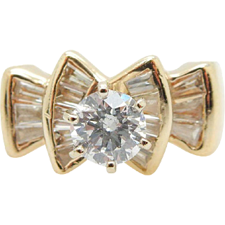 14K Yellow Gold 1.31cttw G-SI1 Round Diamond Solitaire w/Accents Engagement Ring