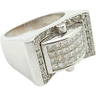 Solid 14K White Gold 2.00cttw F/VS2-SI1 Round & Baguette Diamond Mens Ring S-9.5