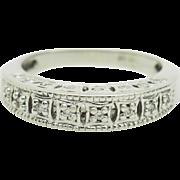 Vintage 14K White Gold 0.15cttw G/VS Round Diamond Filigree Wedding Band Ring