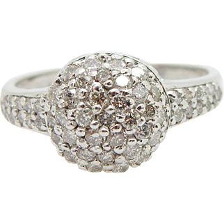 Solid 14K White Gold 0.75cttw G-SI Round Diamond Pavee Dome Cocktail Ring Sz 9.5