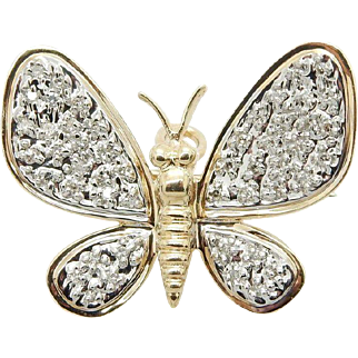 Solid 14K Yellow Gold 0.35cttw Diamond Pavee Butterfly Pin/Brooch Pendant