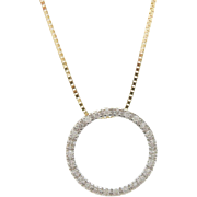 14K Yellow Gold 0.25cttw Round Diamond Circle Eternity Pendant Necklace-18""