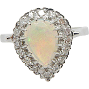 14K White Gold 1.25cttw F-VS Pear Shaped Opal w/Diamond Accents Cocktail Ring-9