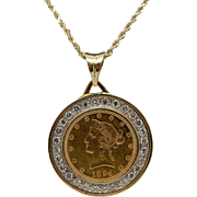 Solid Vintage 18K Gold 1.50ctw F/VS Diamond Bezel 1894 10 Liberty Coin Pendant Rope Necklace-24""