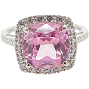10K White Gold 3.00cttw Cushion Pink Topaz w/Round CZ Accents Cocktail Ring Sz 6