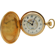 Vintage ARMEX 17J Incabloc Swiss Made MOP Dial Gold Tone Full Hunter Pocketwatch