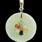 Vintage 14K Yellow Gold Natural Multi-Color Jade Flower Dangle Pendant