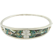 Vintage Mexico Sterling Silver/925 Inlay Turquoise Enamel Hinged Bangle Bracelet