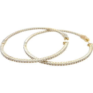 Solid vintage sterling silver/925 and yellow gold plated round cubic zirconia large hoop earrings
