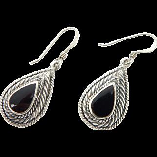 Vintage Sterling Silver/925 Tear Drop Onyx Dangle Drop Earrings