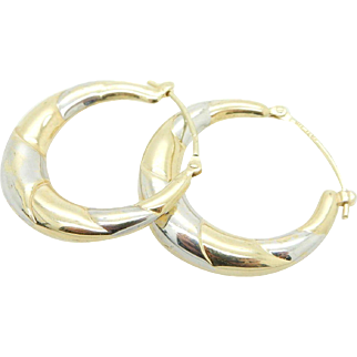 Solid Vintage 14K Yellow and White Gold Hoop Earrings