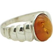 Vintage Sterling Silver/925 Oval Baltic Amber Cocktail Ring Sz 5.5