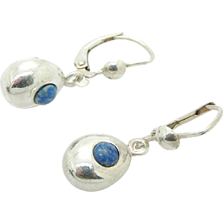 Vintage JM Sterling Silver/925 Round Blue Lapis Lazuli Dangle Leverback Earrings
