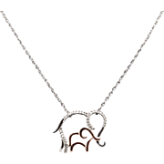 OTC Sterling Silver/925 & 14K Rose Gold 0.10ctw H-SI Diamond Mom & Baby Elephant Pendant Necklace-18""