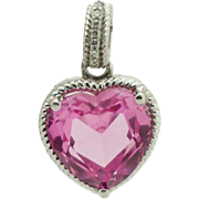 AFJC Sterling Silver/925 Pink Topaz Heart w/0.03cttw Diamond Dangle Pendant