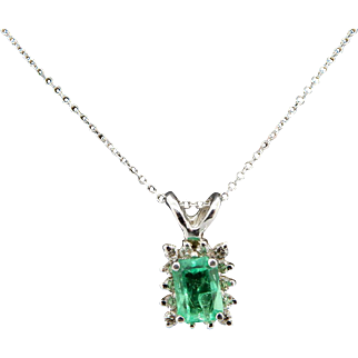 Solid 14K White Gold 0.50cttw Green Emerald w/Diamond Accents Pendant