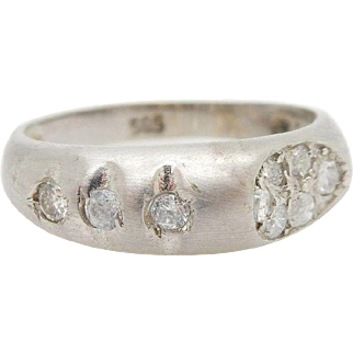 Solid 14K White Gold 0.20cttw Round Cubic Zirconia Band Ring-Sz 4.5