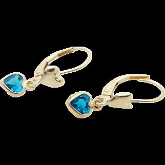 Solid 14K Yellow Gold Heart Shaped Blue Topaz Dangle Leverback Earrings