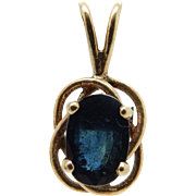 Vintage Solid 14k Yellow Gold 0.25ct Oval Blue Sapphire Pendant