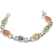 Vintage Sterling Silver/925 Multi-Color Gemstone and CZ Tennis Bracelet-7.25""