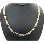 Solid Vintage 14K Yellow & White Gold XOXO Chain Necklace-16""