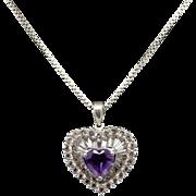 "Vintage Sterling Silver/925 Amethyst Heart w/CZ Dangle Heart Pendant Necklace-19"""