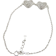 Sterling Silver/925 Double Heart Round Diamond Adjustable Bracelet