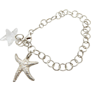 Sterling Silver/925 Roberto Magi Starfish Charm Chain Link Bracelet