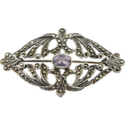 Vintage Sterling Silver/925 Round Marcasite & Oval Amethyst Filigree Pin Brooch