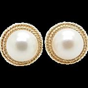 Vintage Solid 14K Yellow Gold 7mm Pearl Stud Earrings, Butterfly