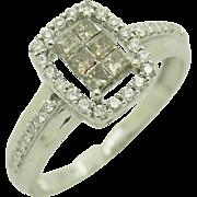 14K White Gold 1.00cttw White & Champagne Round & Princess Diamond Cocktail Ring