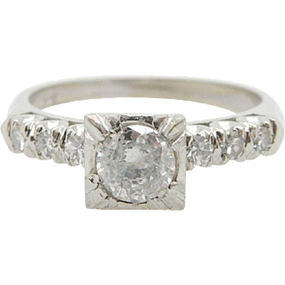 14k White Gold 0.50cttw G-SI Diamond Solitaire w/Diamond Accents Engagement Ring