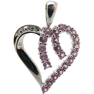 10K White Gold 0.50cttw Round Pink Topaz & Diamond Open Heart Pendant